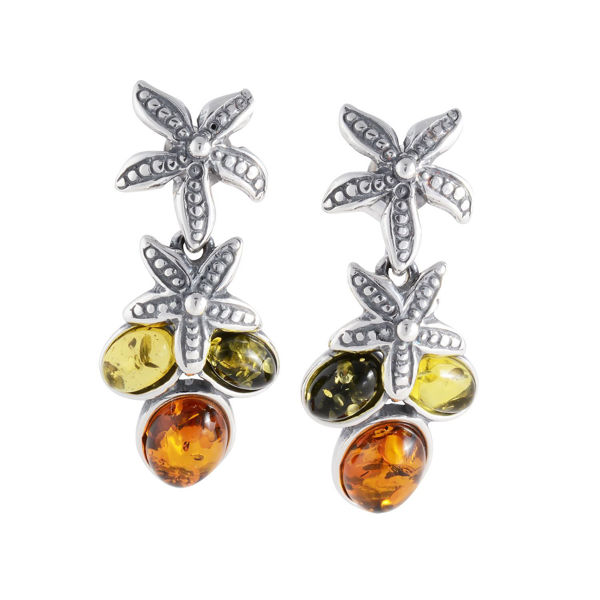 "Sterling Silver and Baltic Multicolored Amber Earrings ""Coral Reef"""