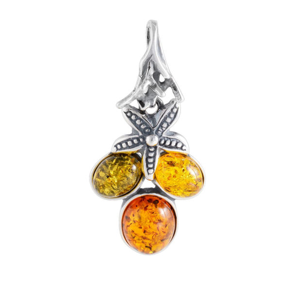 "Sterling Silver and Baltic Multicolored Amber Pendant ""Coral Reef"""