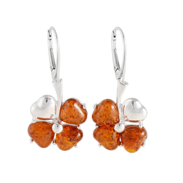 "Sterling Silver and Baltic Honey Amber Earrings ""Clover"""