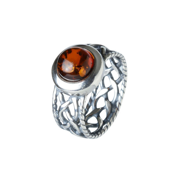 "Sterling Silver and Baltic Honey Amber ""Celtic"" Ring"