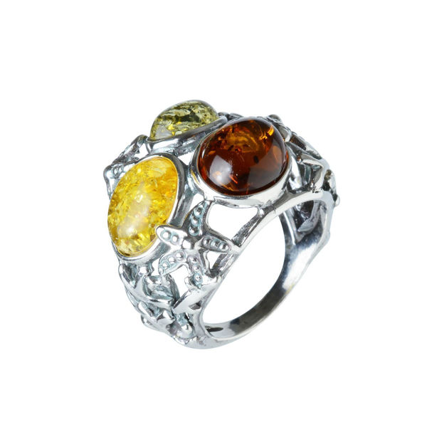 "Sterling Silver and Baltic Multicolored Amber Ring ""Coral Reef"""