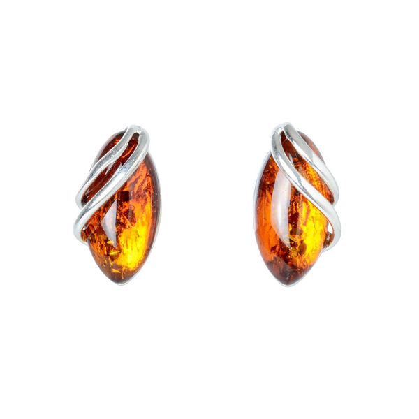 "Sterling Silver and Baltic Honey Amber Earrings ""Darcie"""