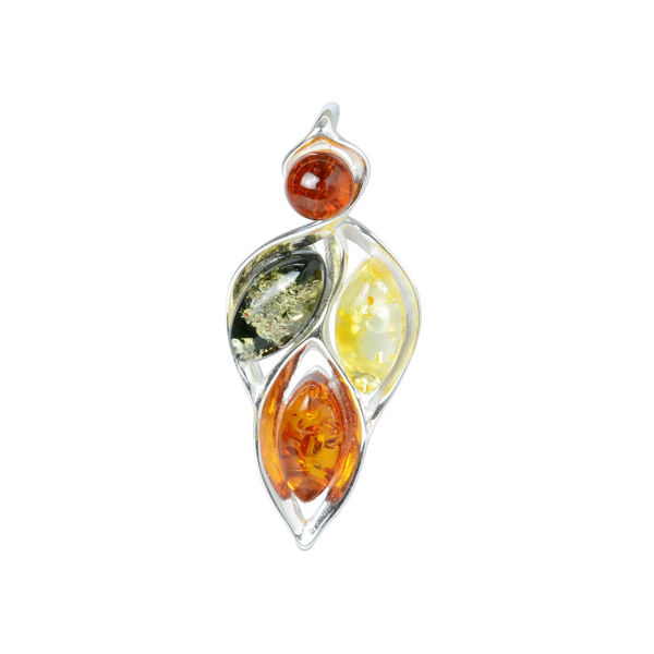 "Sterling Silver and Baltic Multicolored Amber Pendant ""April"""