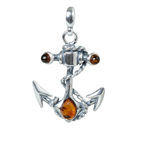 """Sterling Silver and Baltic Amber Pendant """"Anchor"""""""