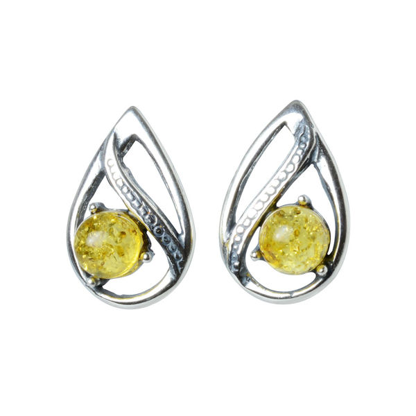 "Sterling Silver and Baltic Amber Stud Earrings ""Amara"""