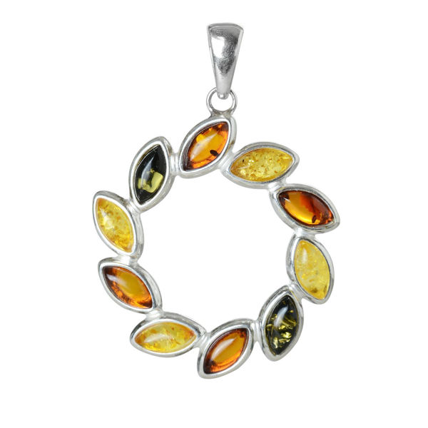 "Sterling Silver and Baltic Multicolored Amber Pendant ""Carrie"""
