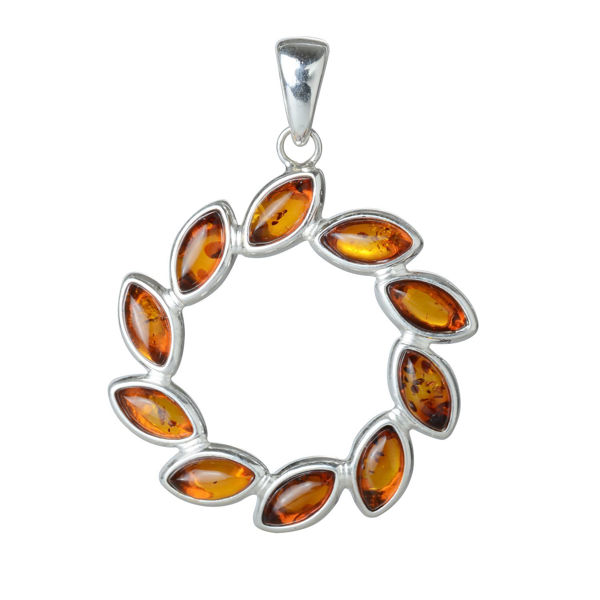 "Sterling Silver and Baltic Honey Amber Pendant ""Carrie"""