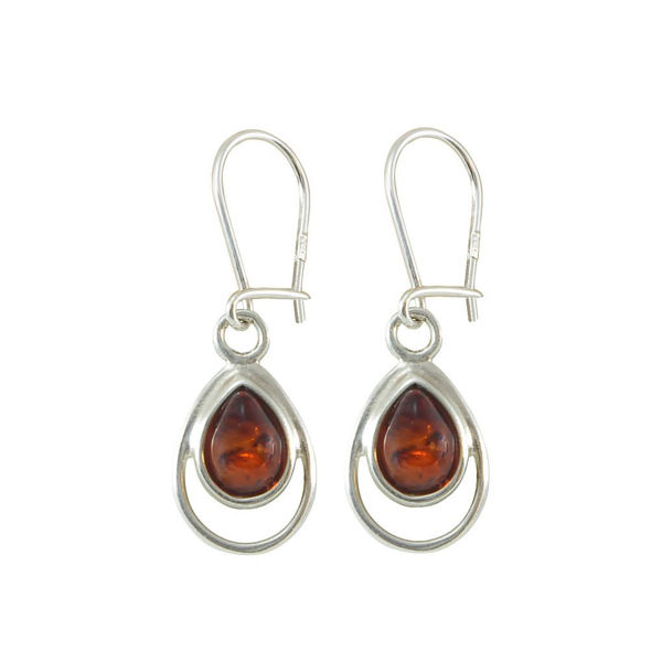 Sterling Silver and Baltic Honey Amber Kidney Hook Dangle Earrings