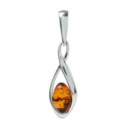 "Sterling Silver and Baltic Honey Amber Pendant ""Elegance"""