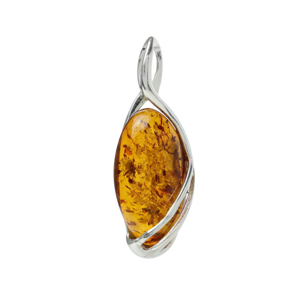 "Sterling Silver and Baltic Honey Amber Pendant ""Oriana"""