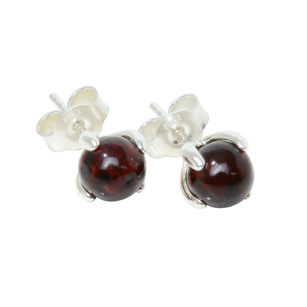 "Sterling Silver and Baltic Dark Cherry Amber Earrings ""Sadie"""