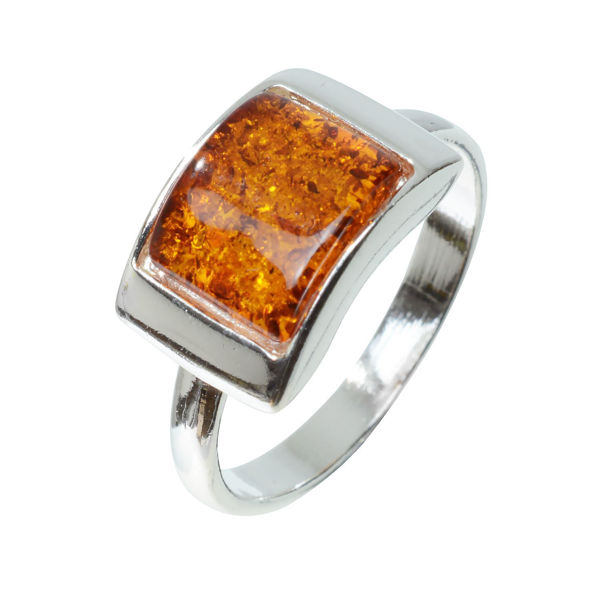 """Sterling Silver and Baltic Honey Amber Ring """"Sunniva"""""""