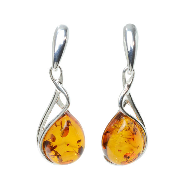 "Sterling Silver and Baltic Honey Amber Earrings ""July"""