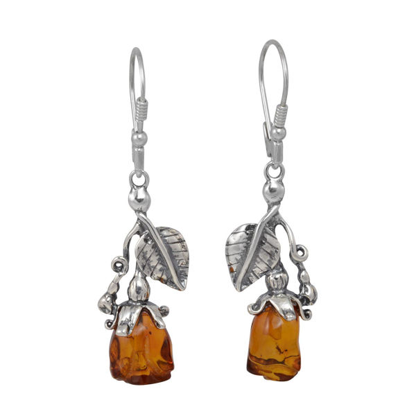 "Sterling Silver and Baltic Honey Amber Leverback Dangling Earrings ""Roses"""