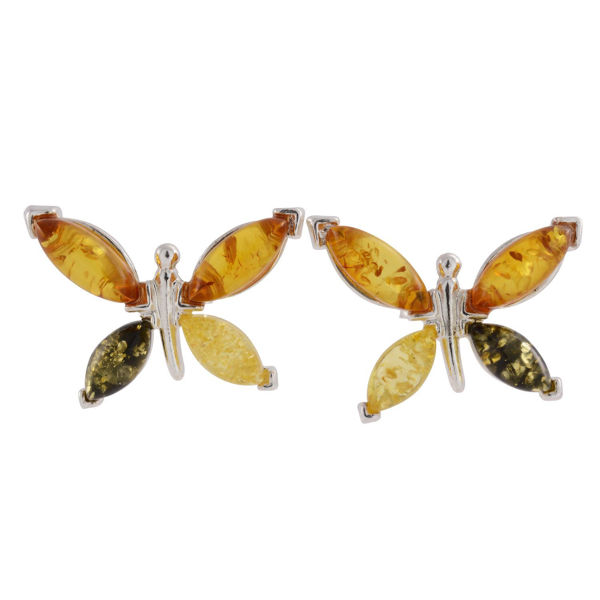 """Sterling Silver and Baltic Multicolored Amber Earrings """"Butterflies"""" (medium)"""