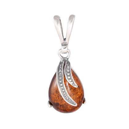 "Sterling Silver and Baltic Honey Amber Pendant ""Aniela"""