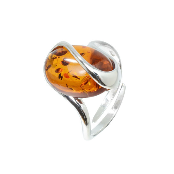 "Sterling Silver and Baltic Honey Amber Adjustable Ring ""Sunshine"""