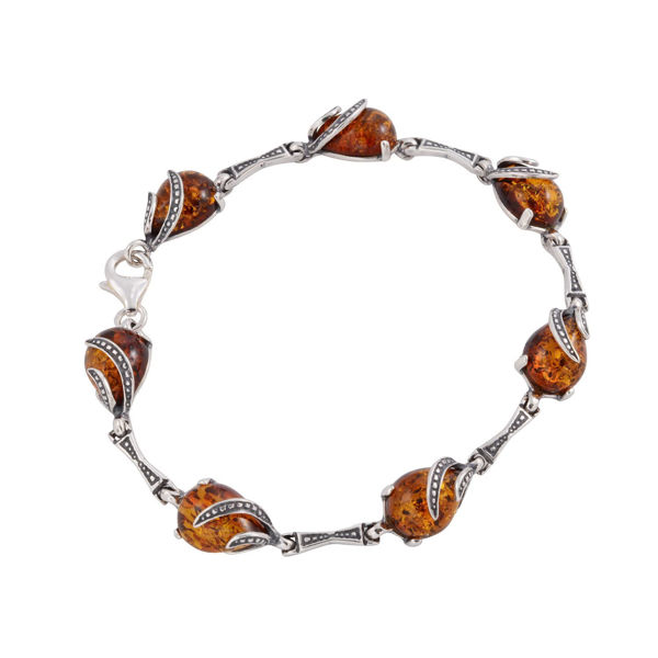 "Sterling Silver Honey Baltic Amber Bracelet ""Aniela"""