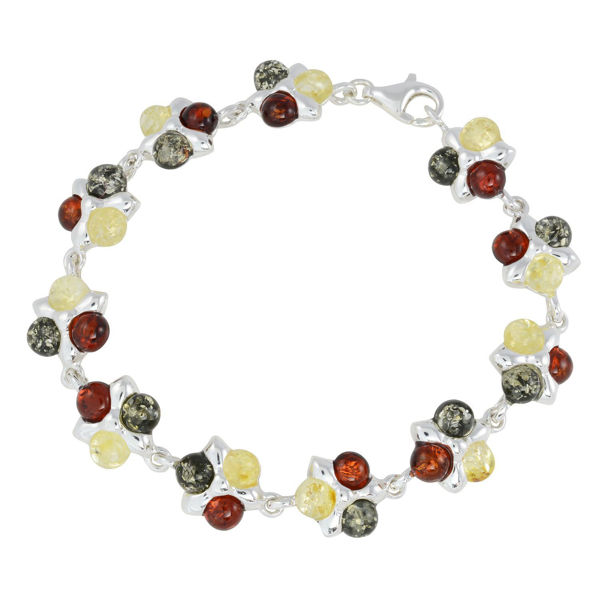 "Sterling Silver Multi-Colored Baltic Amber Bracelet ""Lily"""