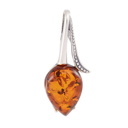 """Sterling Silver and Baltic Amber Pendant """"Tulip"""""""
