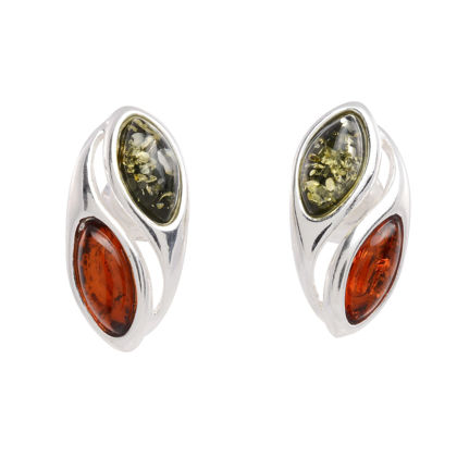 Sterling Silver and Baltic Honey and Green Amber Stud Earrings