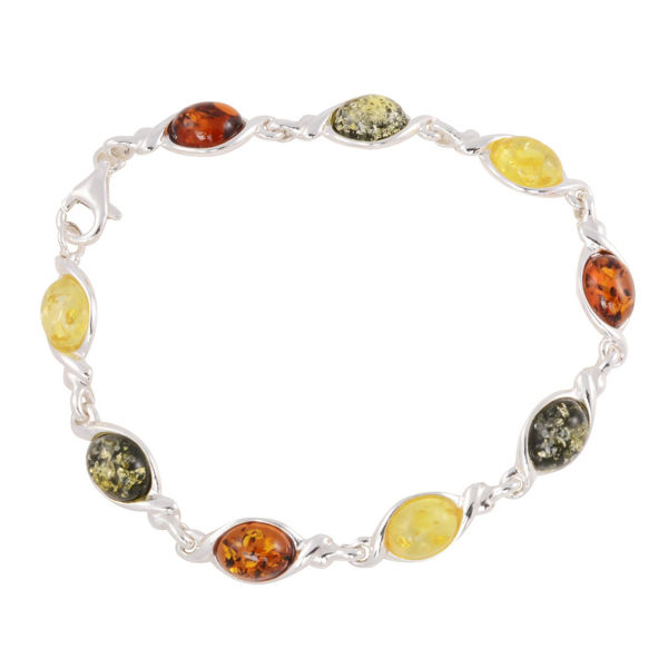 "Sterling Silver Multicolored Baltic Amber Bracelet ""Agnes"""