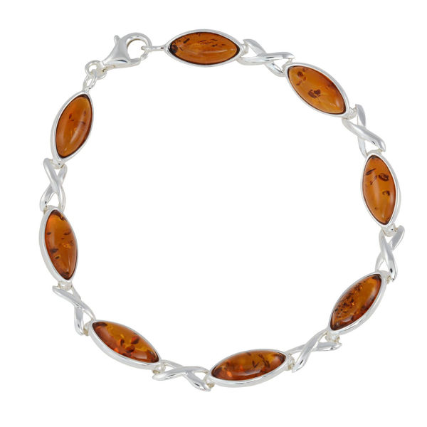 "Sterling Silver Honey Baltic Amber Bracelet ""Sunny"""