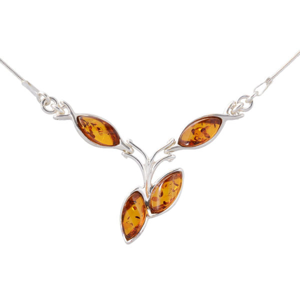 "Sterling Silver and Baltic Honey Amber Necklace ""Julianne"""