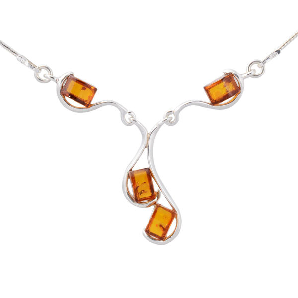 "Sterling Silver and Baltic Honey Amber Necklace ""Ines"""