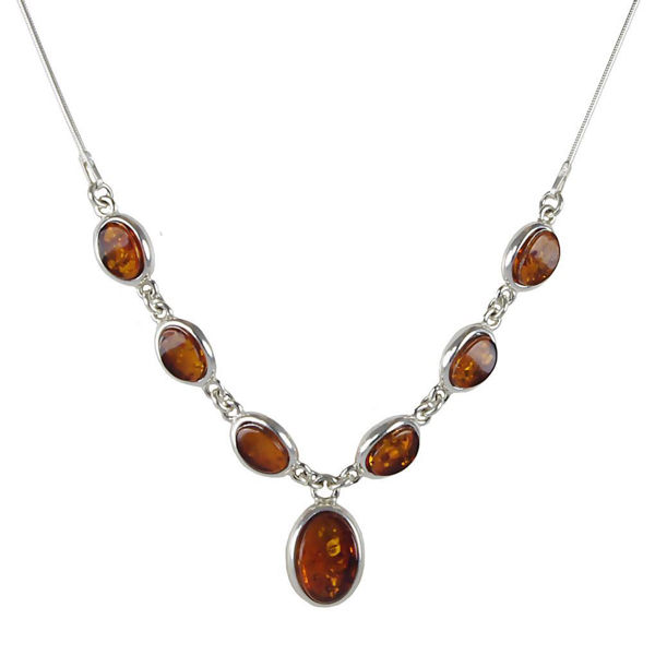 "Sterling Silver and Baltic Honey Amber Necklace ""Michelle"""