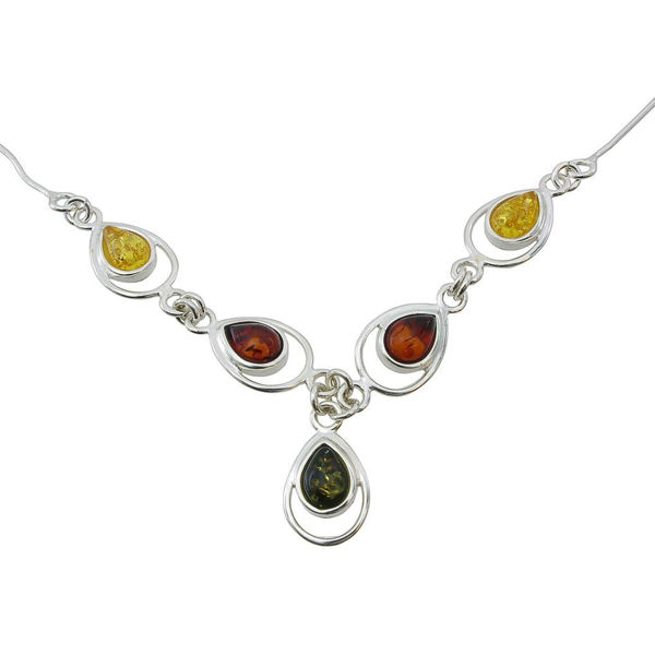 """Sterling Silver and Baltic Multicolored Amber Necklace """"Lina"""""""