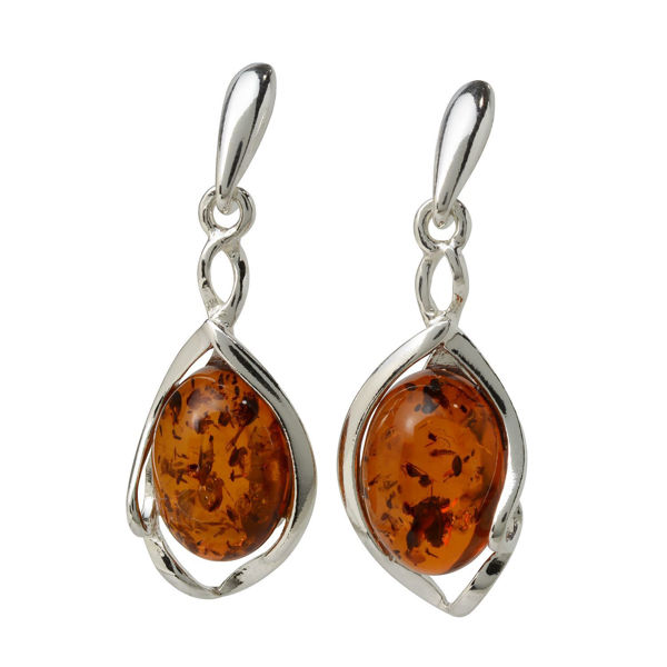 "Sterling Silver Baltic Honey  Amber Earrings ""Mia"""