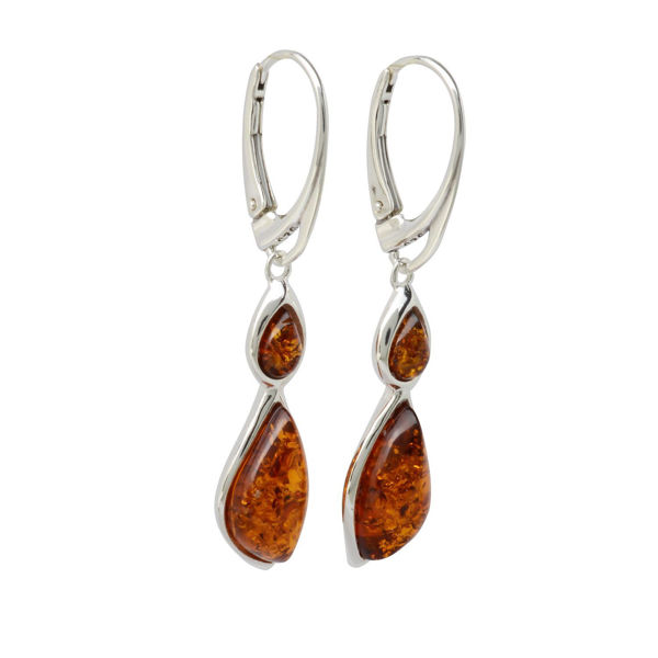 "Sterling Silver and Baltic Honey Amber French Lever Back Earrings ""Samara"""