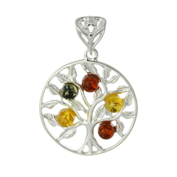 "Sterling Silver and Baltic Multicolored Amber Pendant ""Wisdom Tree"""