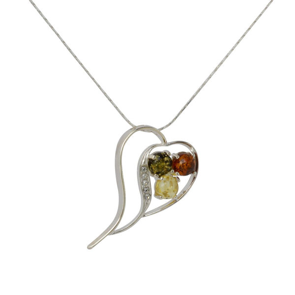 Sterling Silver and Baltic Multicolored Amber Heart Necklace