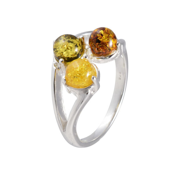 Sterling Silver and Baltic Multicolored Amber Ring
