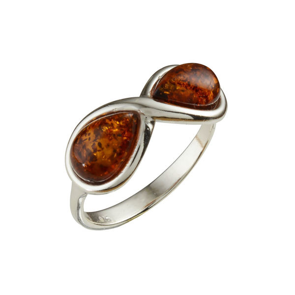 "Sterling Silver and Baltic Honey Amber Ring ""Infinity"""