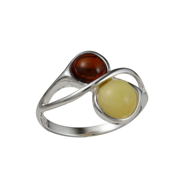 Sterling Silver and Baltic Honey and Butterscotch Amber Ring