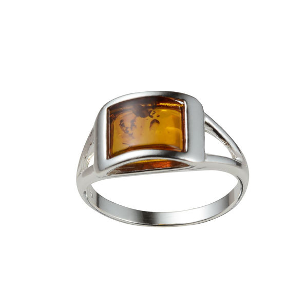 "Sterling Silver and Baltic Honey  Amber Ring  ""Kira"""