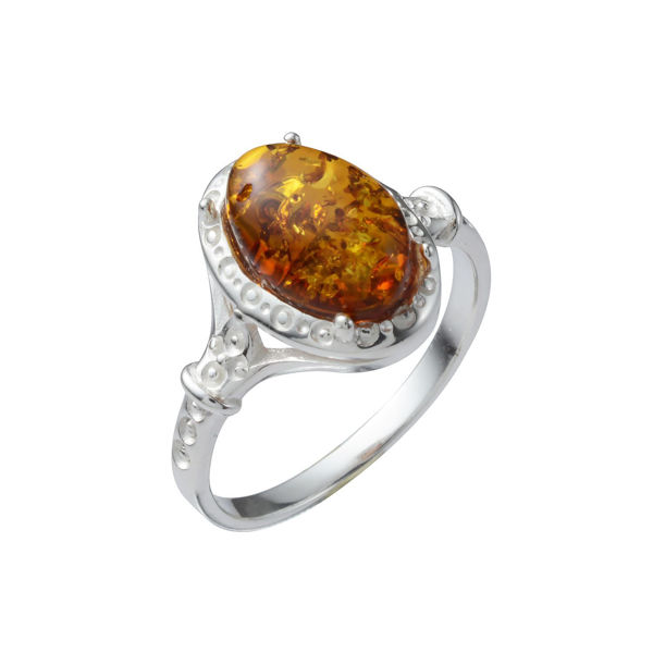 "Sterling Silver and Baltic Honey Amber Oval Ring ""Ana"""