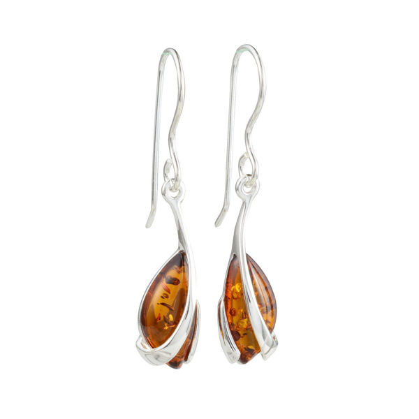 Sterling Silver and Baltic Honey Amber Fish Hook Earrings