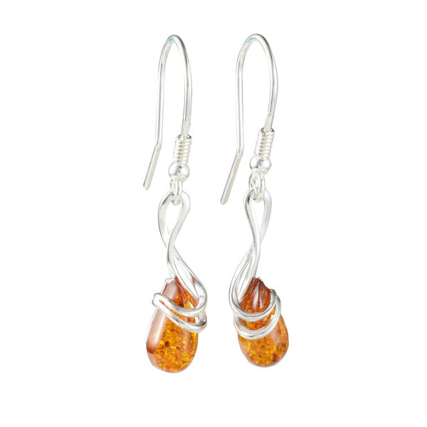 "Sterling Silver and Baltic Fish Hook Honey Amber Earrings ""Sanchia"""