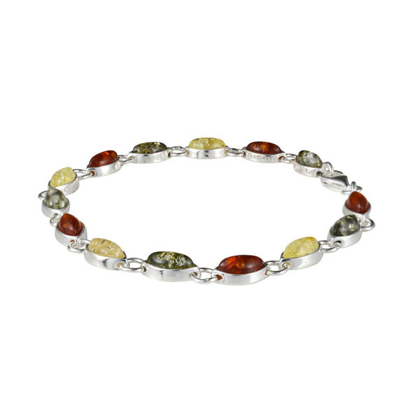 Sterling Silver Multi-Colored Baltic Amber Bracelet