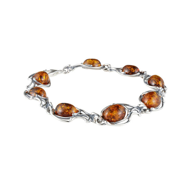 "Sterling Silver Honey Baltic Amber Bracelet ""Willow"""