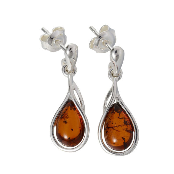 "Sterling Silver and Baltic Honey Amber Post Back Earrings ""Alessia"""