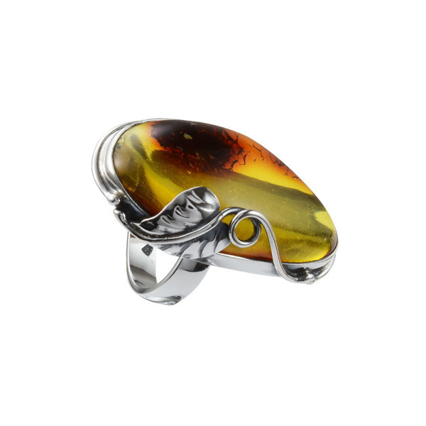 Hand Made Sterling Silver and Baltic Light Honey  Amber Ring; size 9