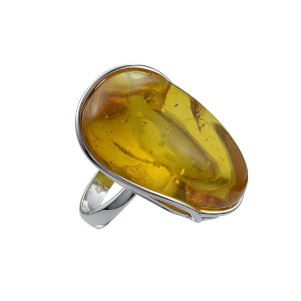 Hand Made Sterling Silver and Baltic Light Honey  Amber Ring; size 8.5