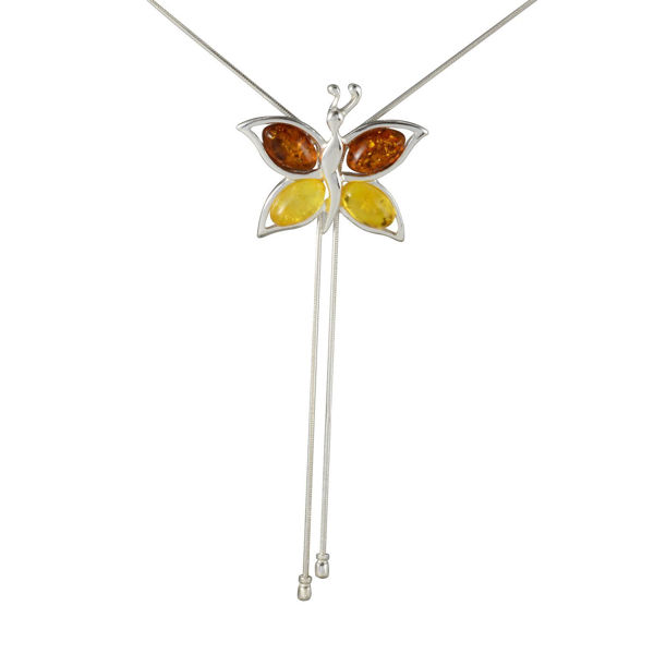 "Sterling Silver Baltic Honey and Lemon Amber Necklace ""Butterfly"""