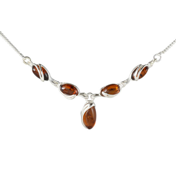 "Sterling Silver Baltic Honey Amber Necklace ""Gemma"""