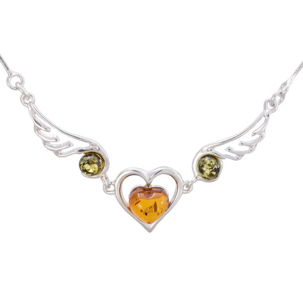 Sterling Silver and Baltic Multicolored Amber Necklace Loving Heart